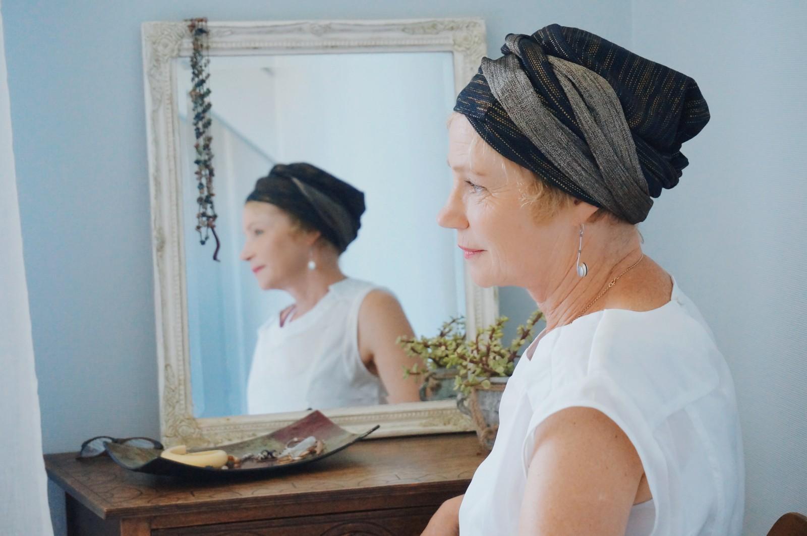 bandeau repousse cancer, bandeau cancer, bandeau chimio, alopécie, turban, tuto bandeau cancer, tutoriel bandeau chimio, témoignage alopécie, témoignage perte de cheveux