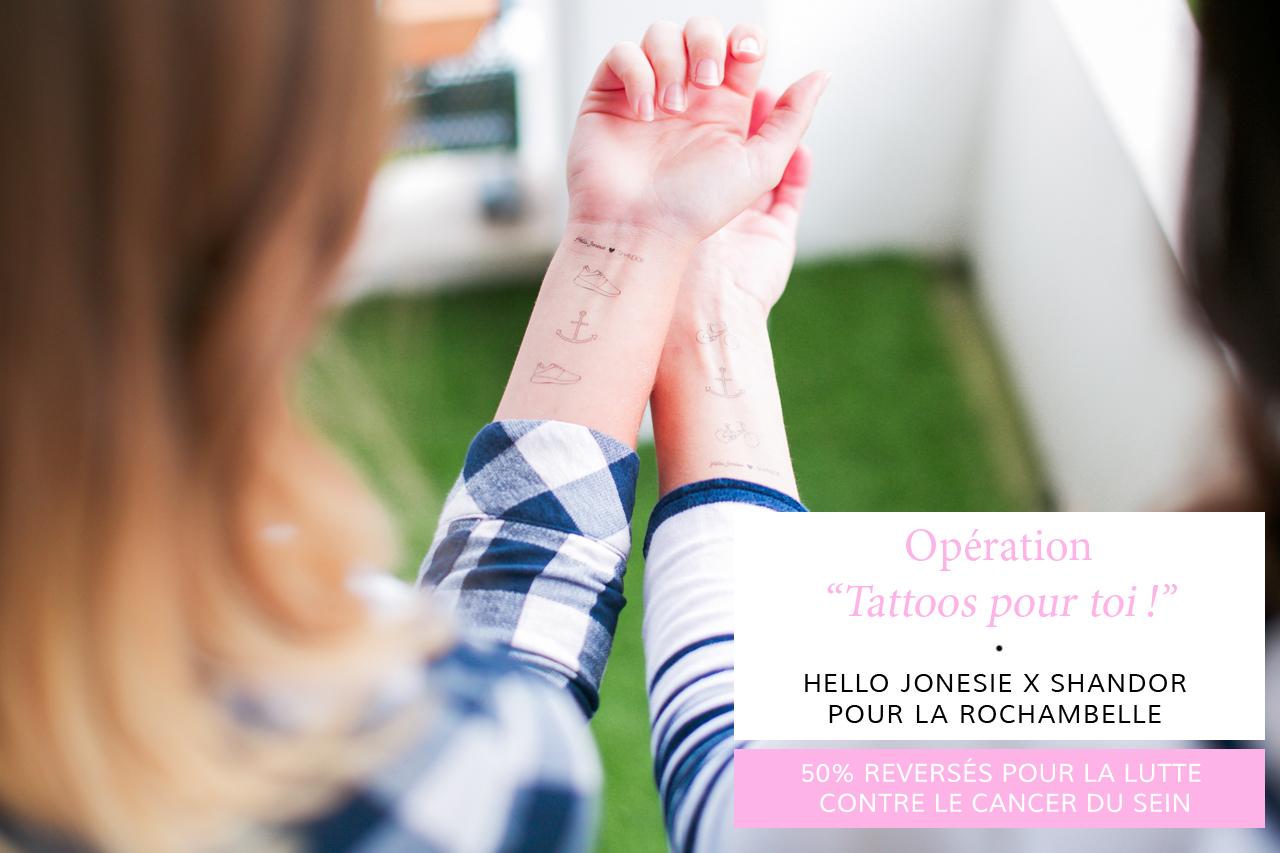 Shandor et Hello Jonesie pour la Rochambelle, édition de tatouages éphémères