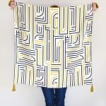 Shandor foulard Gatsby, La seinographe, Foulard en soie, foulard Art Déco, foulard doré, foulard blanc et or