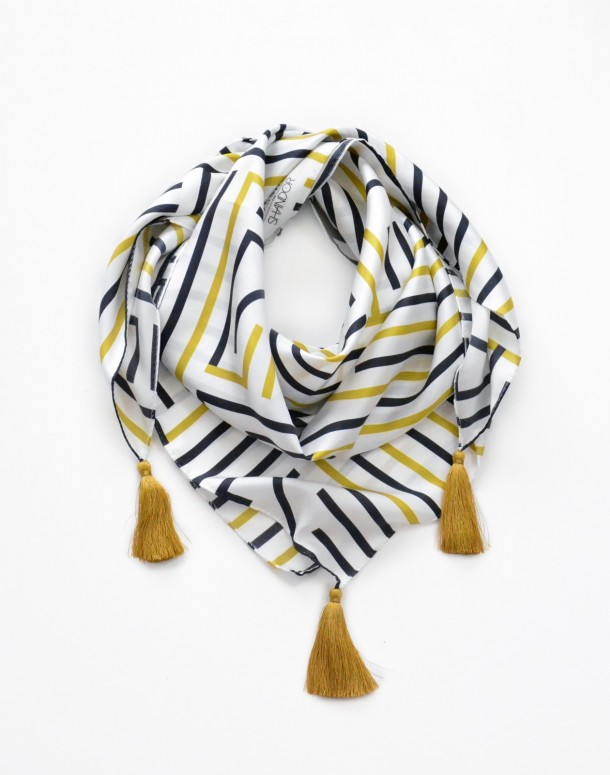 Shandor foulard Gatsby, La seinographe, Foulard en soie, foulard Art Déco, foulard doré, foulard blanc et or, foulard made in France