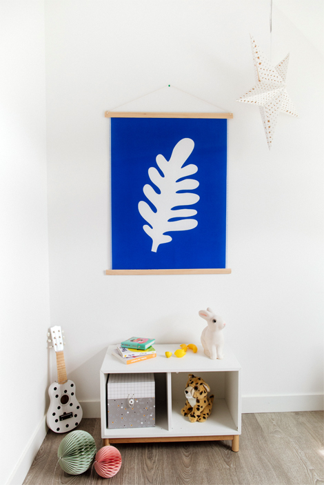 Shandor tenture murale tissu recyclé matisse bleu