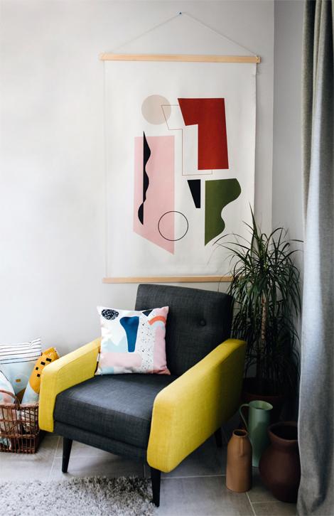 tenture murale kakemono en tissu recycl concerto ocre. Black Bedroom Furniture Sets. Home Design Ideas