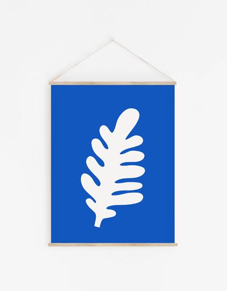 Shandor decoration murale en tissu recyclé, modèle feuille bleu matisse