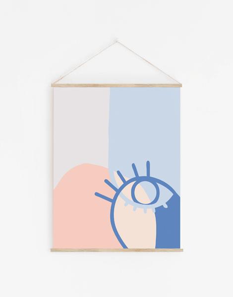 Shandor decoration murale en tissu recyclé, modèle Oeil bleu