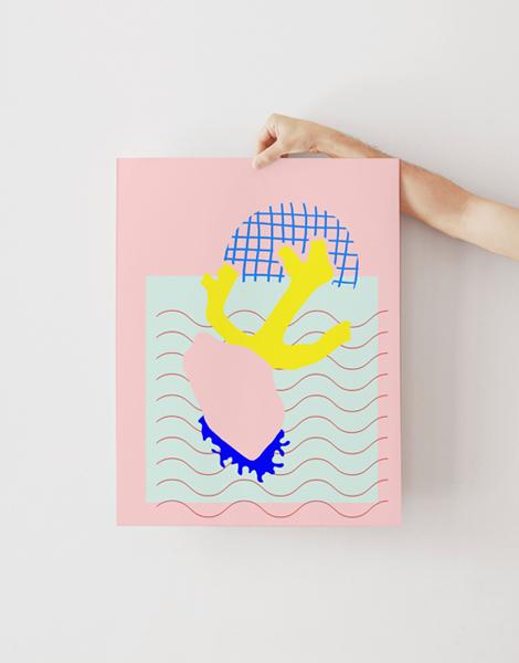 Shandor illustration affiche poster sur papier d'art corail