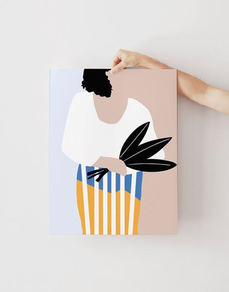 Shandor illustration affiche poster sur papier d'art femme au bouquet