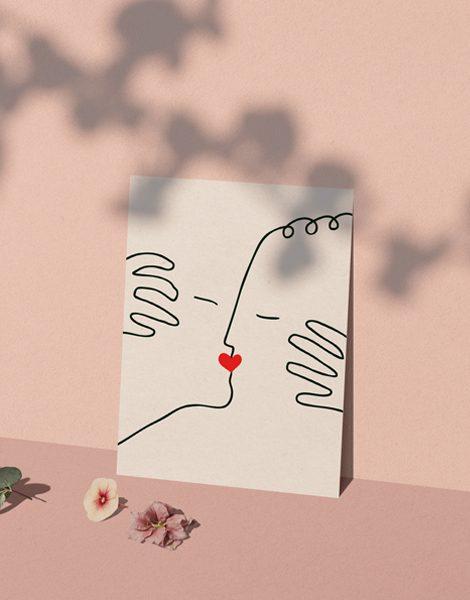 Shandor illustration caen affiche A4 papier d'art baiser d'amour