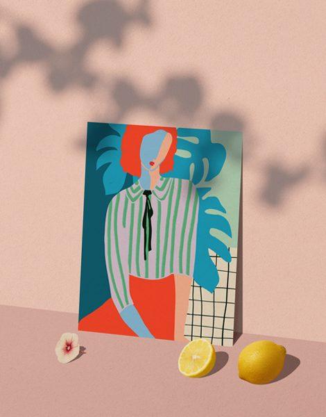 Shandor illustration caen affiche A4 papier d'art la dame aux monsteras