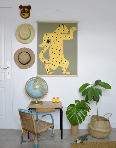 tenture shandor gaspard le guepard décoration chambre d'enfant jungle