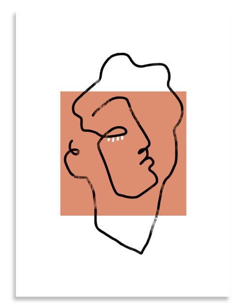 Affiche apollon terracotta line art, Made in France