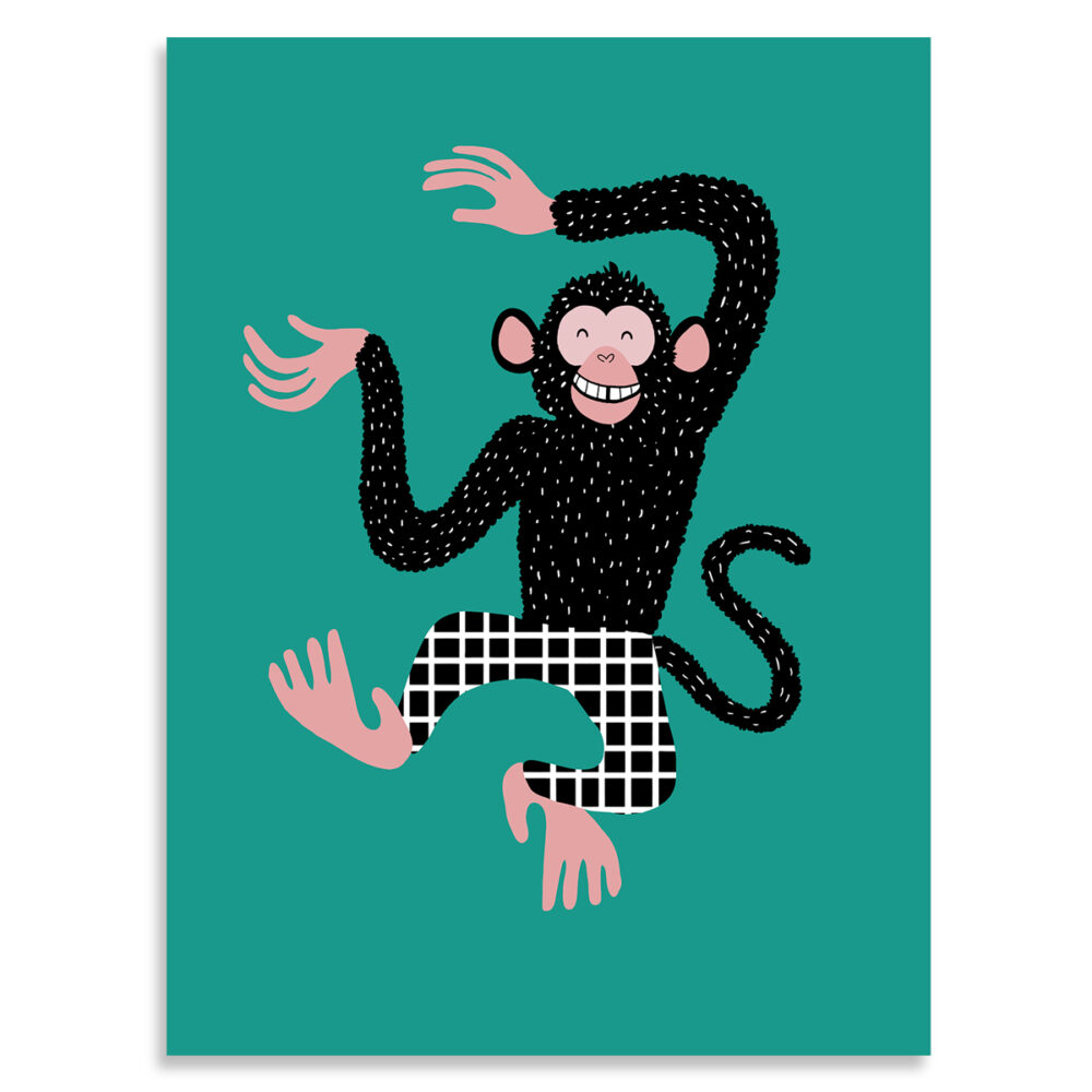 Affiche enfant singe barnabé le chimpanzé, Made in France