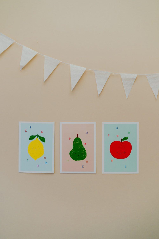Shandor affiches posters enfants pomme poire citron