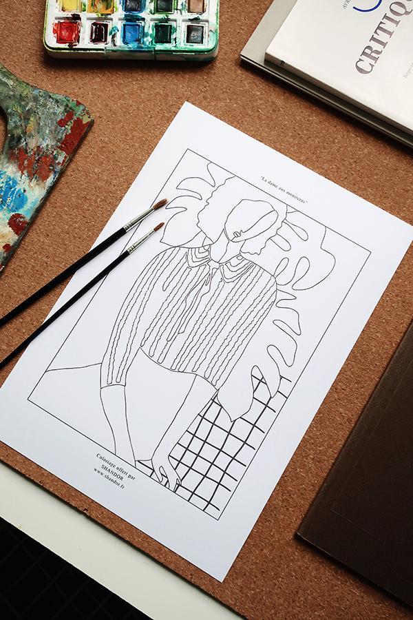 Coloriage Shandor la dame aux monsteras à imprimer
