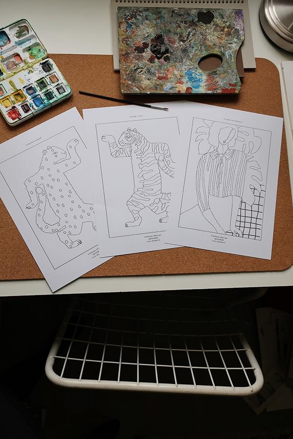 Coloriage gratuit Shandor Aristide le tigre