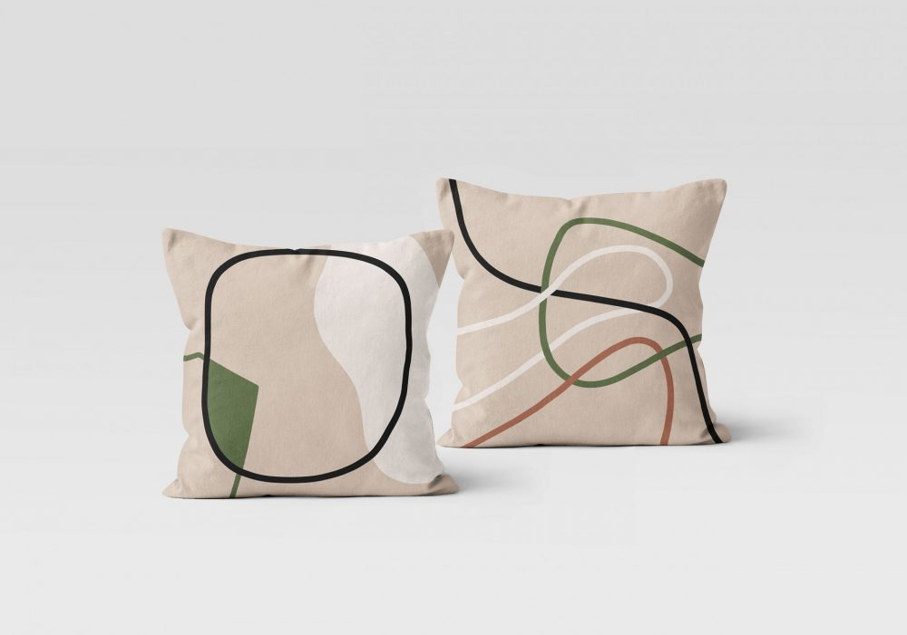 Recto verso coussin lignes en velours, Made in France