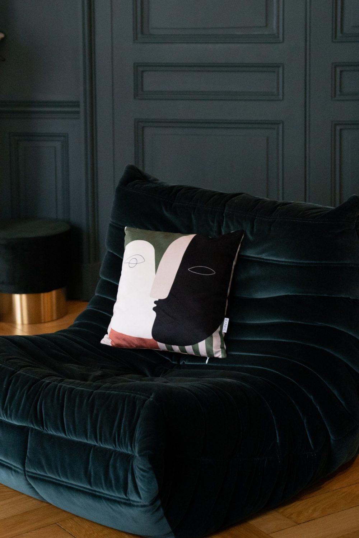 Coussin réversible Visage et rayures en velours, Made in France