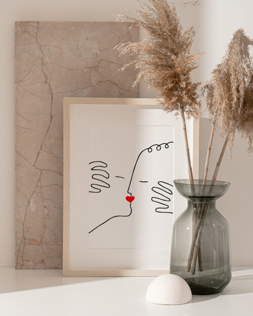 Affiche baiser amour line art, Made in France