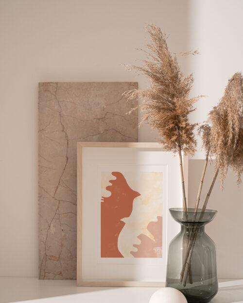 Affiche oiseaux terracotta
