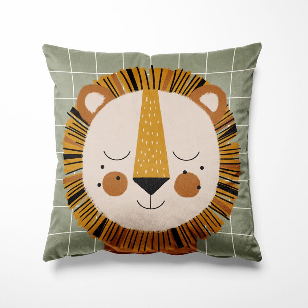 Coussin lion en velours pour enfant, Made in France