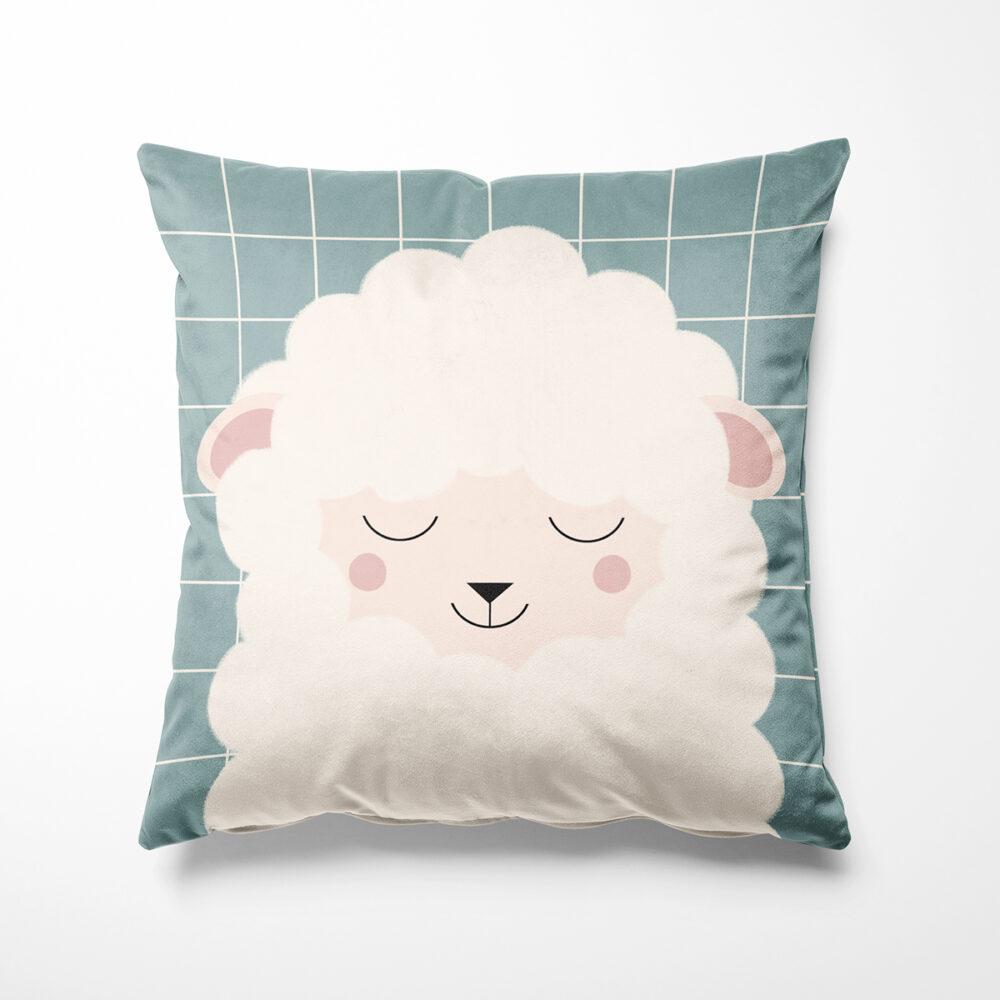 Coussin mouton enfant en velours, Made in France