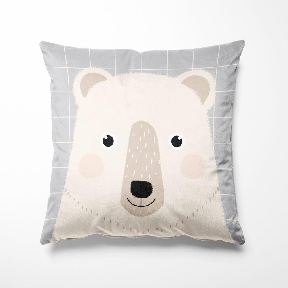 Coussin en velours carré pour enfant ours, Made in France