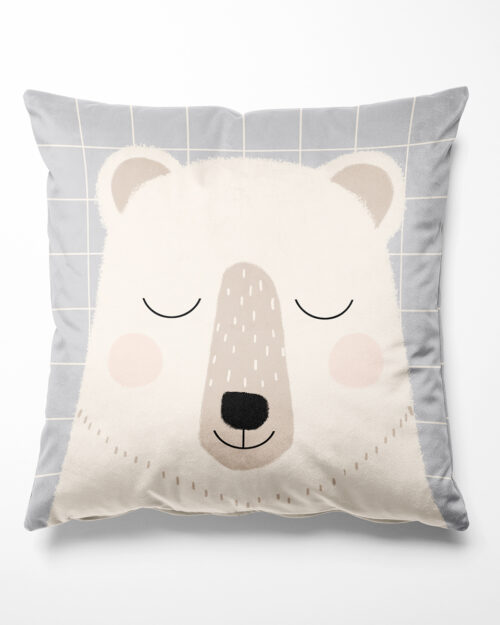 Coussin enfant ours polaire en velours, Made in France