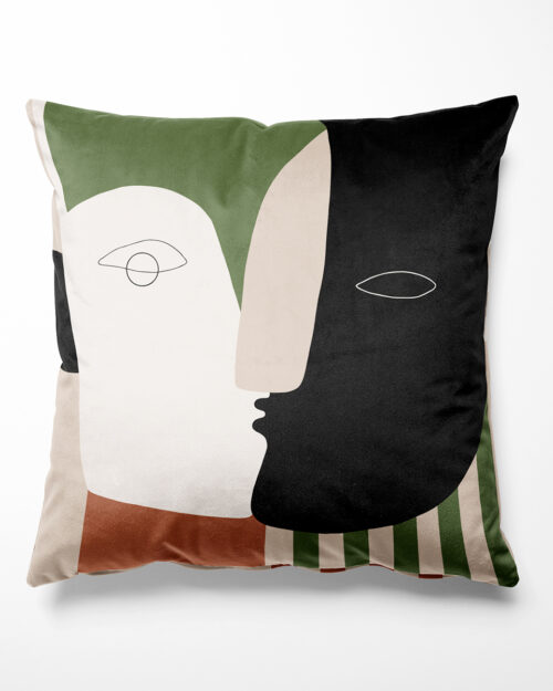 Coussin visage et rayures, Made in France