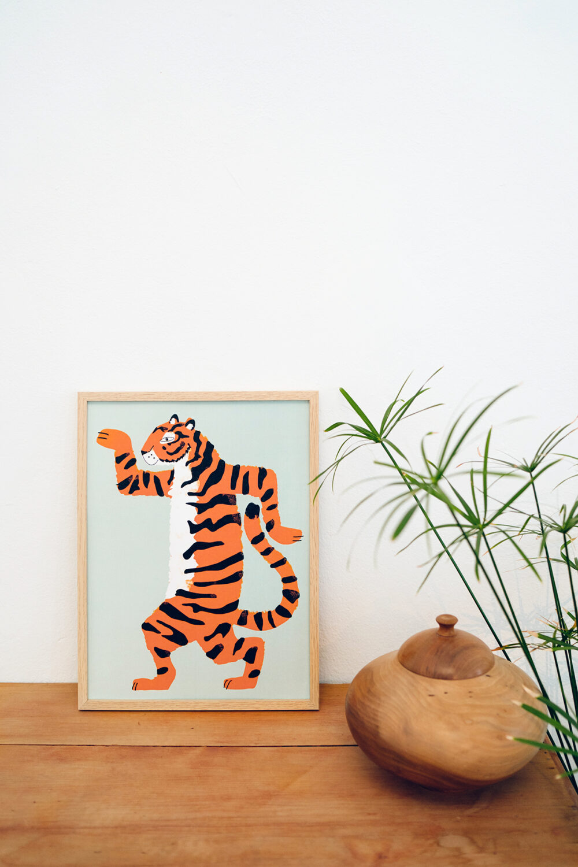 Affiche Aristide le tigre orange et vert d'eau, Made in France