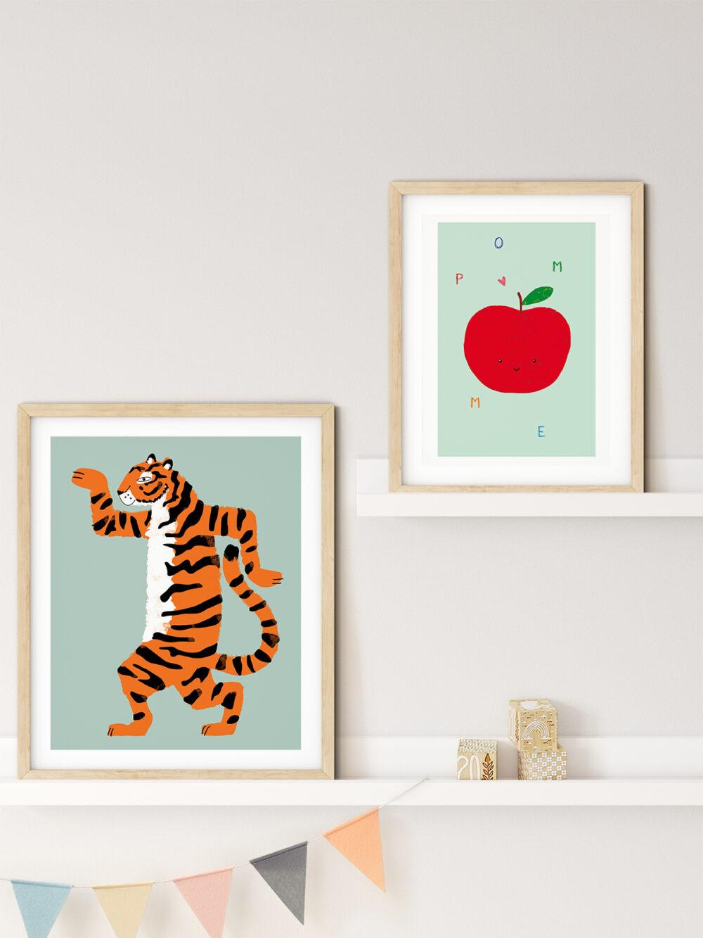 Affiche pomme et tigre