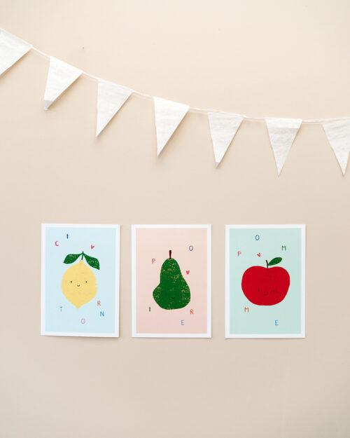 Affiches trio de fruits, pomme, citron, poire, Made in France
