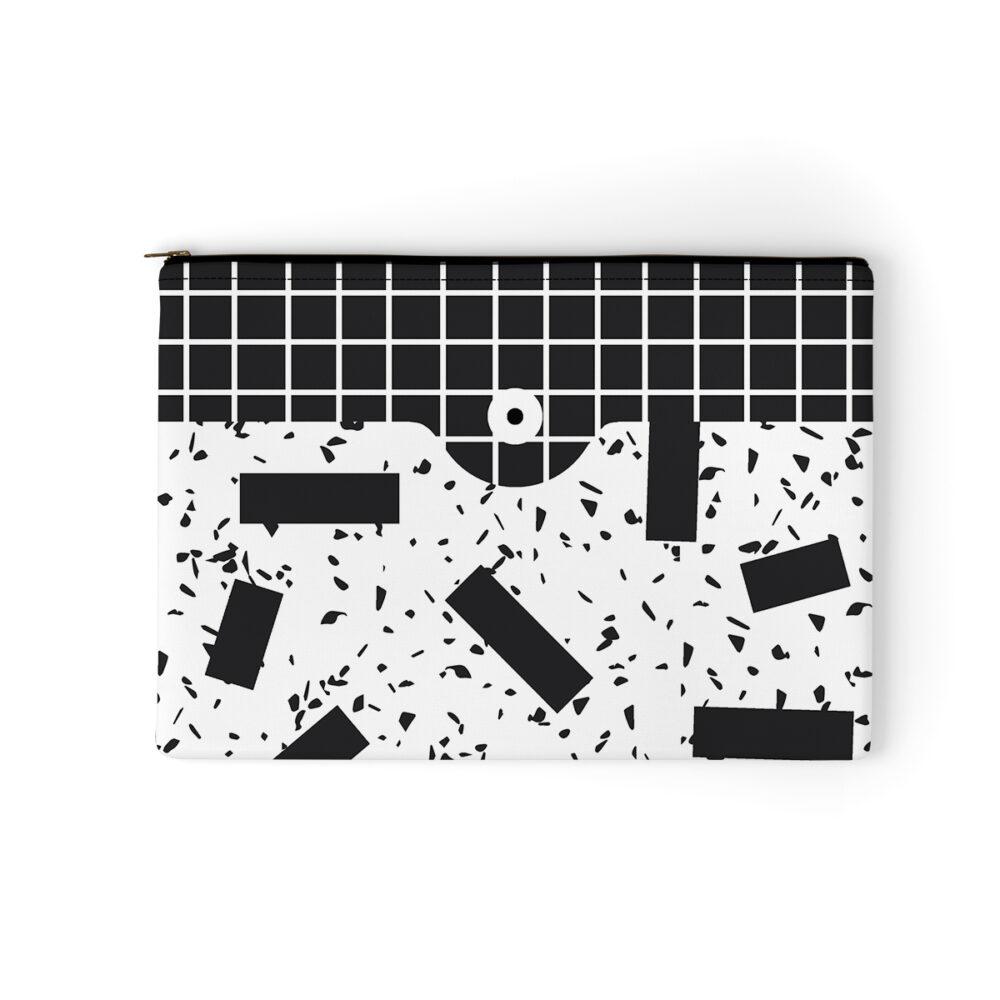 Pochette noir et blanc en velours, Memphis - Made in France