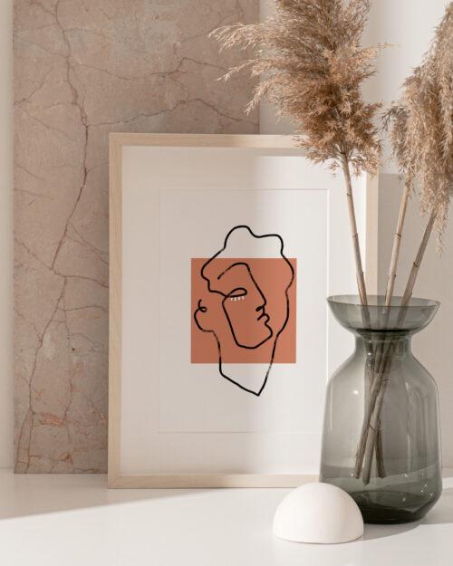 Affiche line art visage apollon terracotta, Made in France